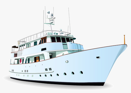 Yacht vector, realistic painted ship with many details, isolated on white background Ilustração