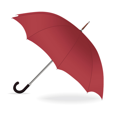 Umbrella vector. Opened red umbrella from the rain with iron handle, isolated Illustration