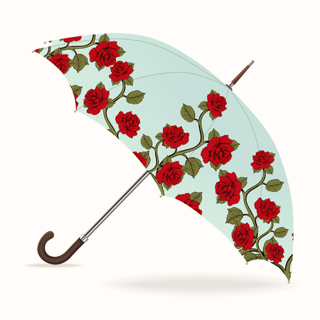 Umbrella vector. Opened umbrella with a pattern of red roses, isolated