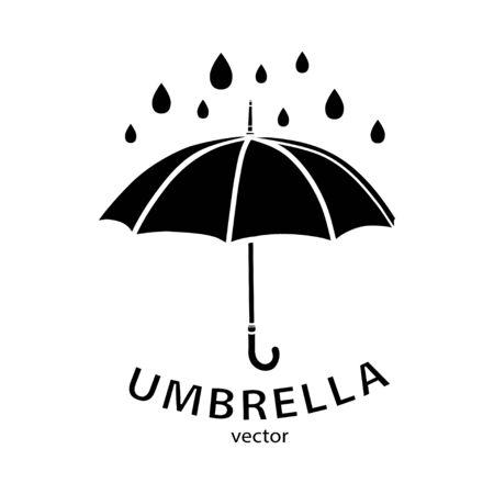 Icône de parapluie, logo vectoriel. Silhouette de parapluie noir, gouttes de pluie et texte isolé sur fond blanc