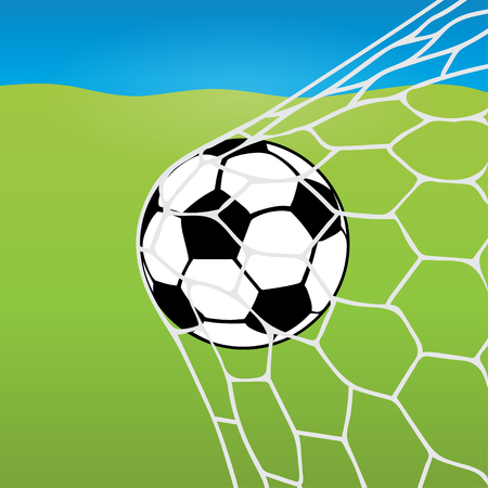 soccer goal: Soccer ball flying into the net, ball in goal against the background of a football lawn and blue sky. Vector illustration