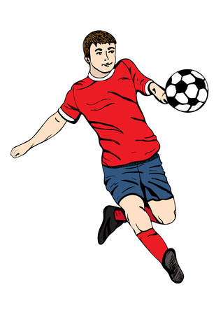 Footballer with a ball, vector hand drawing. Football player in a red blue uniform runs and scores a goal. Isolated on white background. Vector