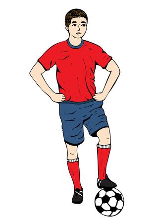 Voetballer, vectorhandtekening. Voetbalster in een rode blauwe uniform met een bal. Geïsoleerd op witte achtergrond Vector illustratie