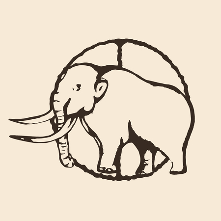 Mammoth outline illustration Illustration