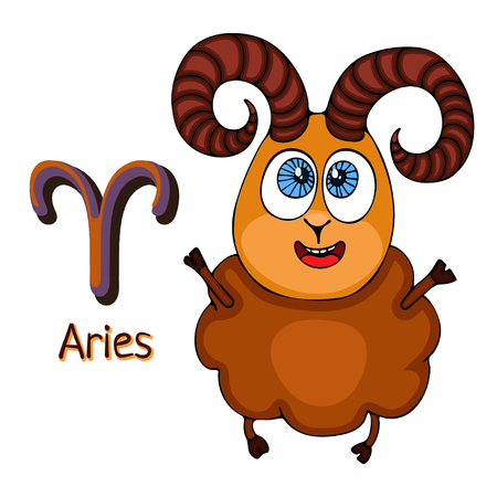 Zodiac sign cartoon Aries, astrological character. Painted funny aries with a symbol isolated on white background, vector hand drawing Illustration