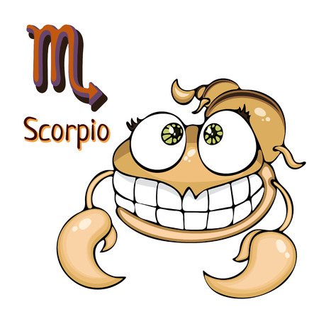 A Scorpio Zodiac sign in cartoon astrological character. Painted funny scorpion with a symbol isolated on white background, vector hand drawing