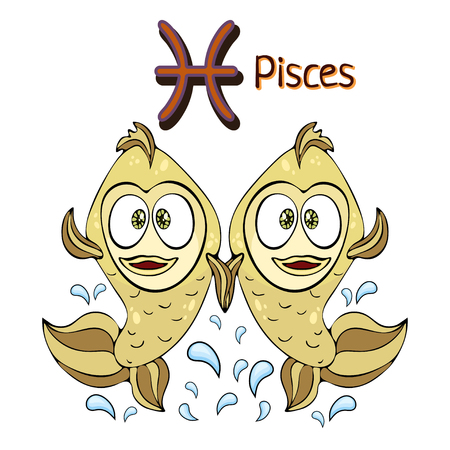 Pisces zodiac sign in cartoon astrological character. Painted with funny two fish and water splashes with a symbol isolated on white background, vector hand drawing
