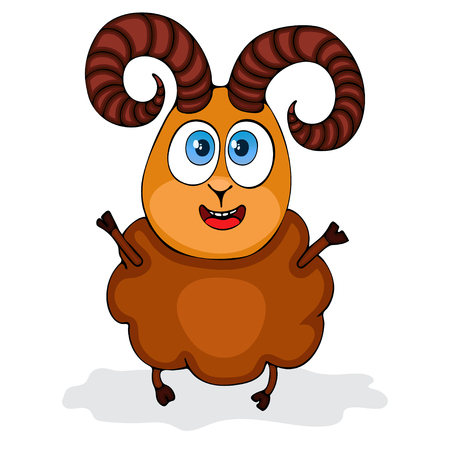 Aries zodiac symbol in Cartoon funny ram painted character, isolated on white background, vector hand drawing Illustration