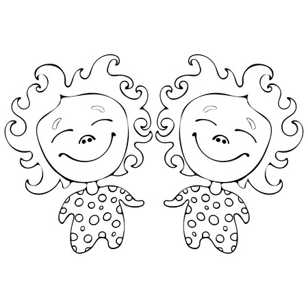 babes: Cartoon funny babes twins for coloring book isolated on white background, vector black and white hand drawing, monochrome illustration