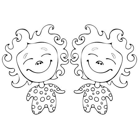 Jumeaux drôles de bandes dessinées pour cahier de coloriage isolé sur fond blanc, dessin de main noir et blanc de vecteur, illustration monochrome