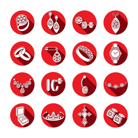 Set icons jewelry in vector. White flat icons in a red round frame with a beveled shadow Illustration