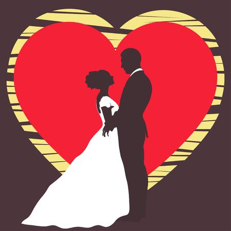 La Silueta De Novia Y Del Novio Casandose La Invitación Tarjeta