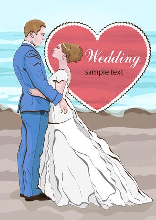 Vector de dibujos animados de novia y el novio, invitación de boda, tarjeta. Pareja de abrazos de amor, vestido con un vestido de novia y un traje en el fondo de la playa y el mar, y un corazón Foto de archivo - 85642664