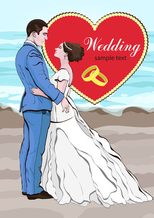 romantic date: Bride and groom cartoon vector, wedding invitation, card. Couple in love hugging, dressed in a wedding dress and a suit on the background of the beach and the sea, and a heart