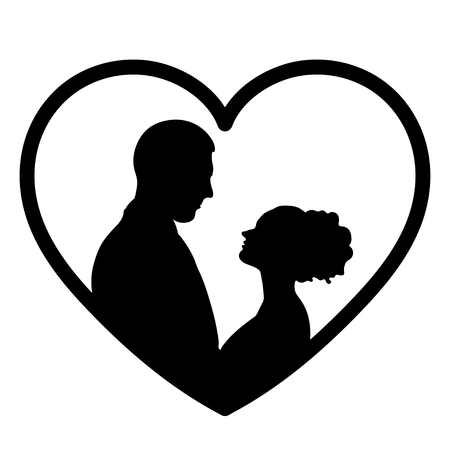 Couple In Love Silhouette, Flat Icon, , Bride And Groom Outline ...
