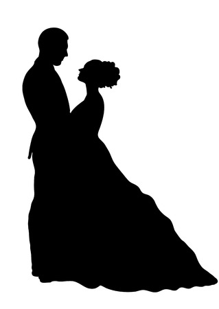 Bride and groom silhouette, vector icon, contour drawing, black and white illustration. Couple in love hugging looking at each other, dressed in a wedding dress and suit, isolated