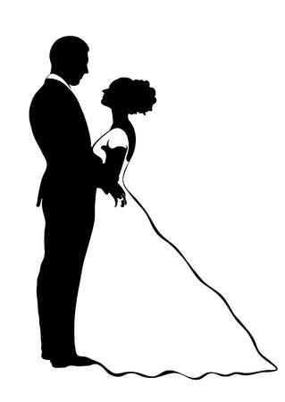 Silhueta de noiva e noivo, ícone de vetor, desenho de contorno, ilustração em preto e branco. Casal apaixonado abraçando olhando uns aos outros, vestido com um vestido de noiva e um terno, isolado