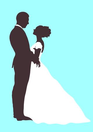 Silueta de la novia y el novio, icono del vector, dibujo del contorno de la historieta del esquema. Pareja de enamorados abrazándose mirándose, vestido con un vestido blanco de la boda y un traje, aislado Foto de archivo - 85642677