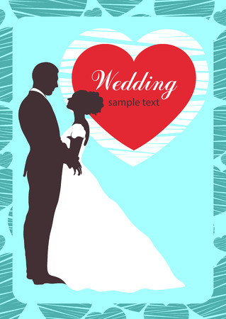 romantic date: Bride and groom silhouette, wedding invitation, card, outline contour drawing. Couple in love hugging looking at each other, dressed in a wedding white dress and a suit