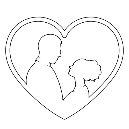 Silhueta De Noiva E Noivo Icone De Vetor Desenho De Contorno