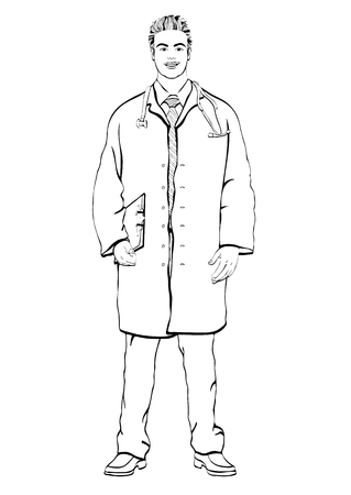 Male doctor standing front side, coloring, vector outline portrait men physician full-length, painted black and white human in a medical dressing gown with stethoscope, isolated