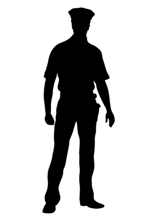 Police officer vector silhouette, outline man standing front side full-length, contour portrait male cop in a police uniform with arms, isolated on white background, monochrome