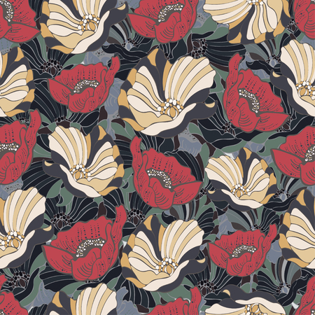 Abstract flowers seamless pattern, vector floral background, cartoon hand-drawn, exquisite elegant ornament. Colorful bud, petals and curls. For fabric design, wallpaper, wrappers Фото со стока - 88140733