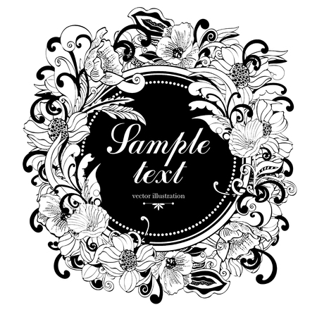 Flower round frame, vector monochrome background, banner, floral border, outline wreath. Abstract vector black and white flowers, petals, leaves, curls and label for text isolated on white background Illustration