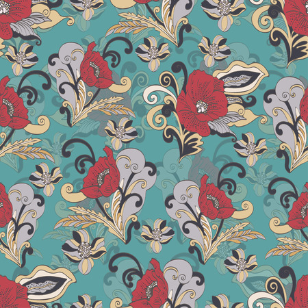Abstract flowers seamless pattern, vector floral background, cartoon hand-drawn, exquisite elegant ornament. Colorful bud, petals, stem, leaves and curls on a turquoise background. For fabric Фото со стока - 88178802