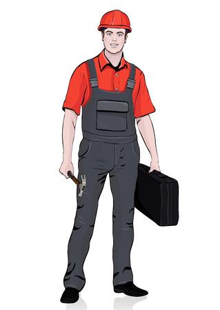 Bouwer staande voorkant, vector cartoon portret mannelijke werkman reparateur, veelkleurige geschilderde mens in overalls, in werkende overall, met een koffer voor gereedschappen in de hand. Geïsoleerd op witte achtergrond