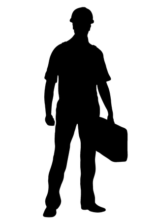 Builder vector silhouette, outline male workman repairman standing front side full-length, contour portrait human in coveralls, with a suitcase for tools in hand, isolated on white