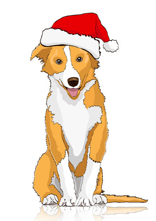 Yellow dog in the Santa Claus hat, symbol of the year 2018, vector drawing. Yellow white cartoon shaggy dog full-length isolated on white background Illustration