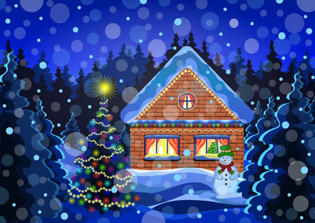 Winter christmas landscape vector drawing. Night winter snow forest with falling snowflakes, decorated with luminous garlands rustic brick house, snowman, and decorated christmas tree Illustration