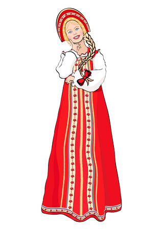 Girl in Russian national costume standing front side, vector drawing cartoon portrait.