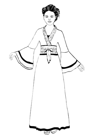 Girl in Chinese national costume standing front side, vector outline portrait, black and white contour drawing, coloring. Asian woman full-length in hanfu, traditional dress robe, on white