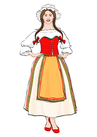 Girl in French national costume standing front side, vector drawing portrait. A brunette woman full-length with pigtails and cap, in old traditional dress with an apron, isolated on white. Illustration