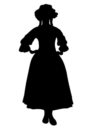 Woman full-length silhouette, with pigtails and cap, in old traditional national dress with a fluffy skirt, vector outline portrait, black and white contour drawing. Isolated on white.
