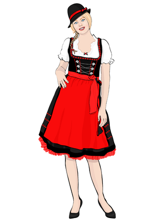 Girl in German national costume standing front side, vector drawing portrait. A blonde woman full-length with pigtail and cap, in old traditional dress with an apron, isolated on white Ilustração
