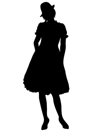 Woman full-length silhouette, with pigtails and cap, in old traditional national dress with a fluffy skirt, vector outline portrait, black and white contour drawing. Isolated on white Illustration