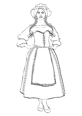 Girl in French national costume, vector outline portrait, black and white contour drawing, coloring. Woman with pigtails and cap, in old traditional dress with an apron, isolated on white