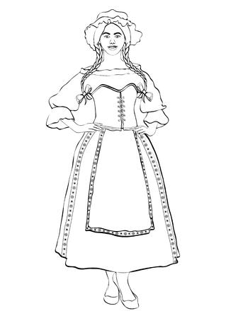 Muchacha en el traje nacional francés, retrato del esquema del vector, dibujo blanco y negro del contorno, coloreando. Mujer con coletas y gorra, en el antiguo vestido tradicional con un delantal, aislado en blanco Foto de archivo - 92686413