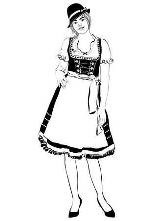 Girl in German national costume, vector outline portrait, black and white contour drawing, coloring. Woman with pigtails and cap, in old traditional dress with an apron, isolated on white Illustration