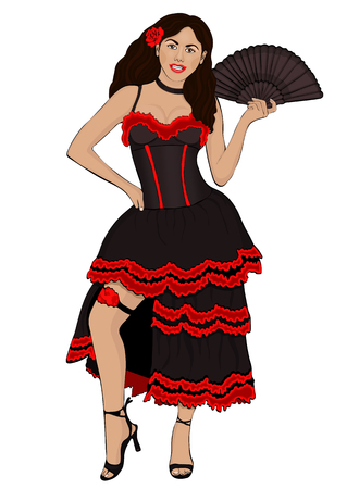 Girl in Spanish national costume, vector drawing portrait. A brunette woman with a swarthy skin, in traditional dress with a fluffy skirt, with fan, with a flower in hair, isolated on white