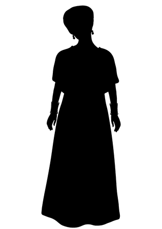 Girl in African national costume standing front side silhouette, vector outline portrait, black and white contour drawing. Woman with turban cap, in traditional dress, isolated on white