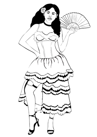 Girl in Spanish national costume, vector outline portrait, black and white contour drawing, coloring. Woman in dress with a fluffy skirt, with fan, with a flower in hair, isolated on white