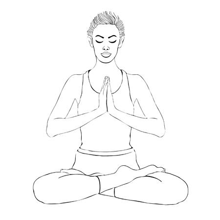 Yoga pose, vrouw mediteren in een lotus houding, vector kleuren tekening portret. Meditatie ontspanning meisje zit in kleermakerszit, schets zwart-wit afbeelding. Geïsoleerd op wit
