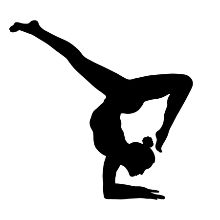 Yoga pose, woman handstand silhouette, vector outline portrait, gymnast figure, black and white contour drawing. Isolated on white