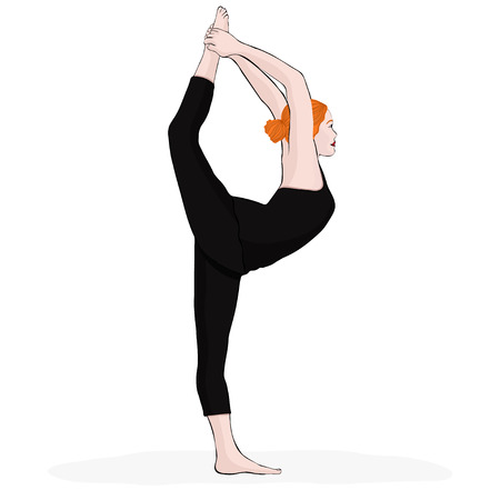 Yoga pose, woman doing stretching legs, leg split, vector multicolored drawing portrait. Cartoon girl is engaged in gymnastics. Isolated on white