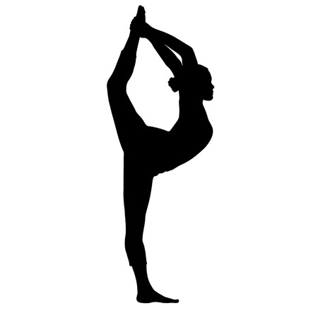 Yoga pose, woman doing stretching legs, leg split silhouette, vector outline portrait, gymnast figure, black and white contour outline drawing. Isolated on white