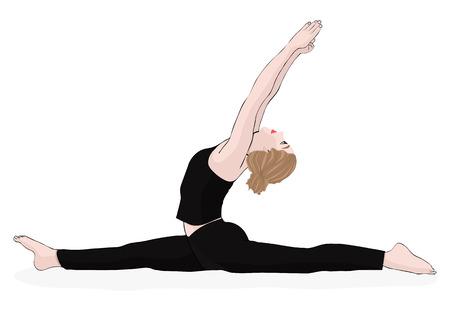 Yoga pose, vrouw om de splitsingen te doen, vector veelkleurige tekening portret. Cartoon meisje houdt zich bezig met gymnastiek. Geïsoleerd op wit